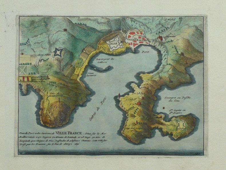 Veue du port et des environs de Ville France, situé sur la mer Méditerranée.. FER (Nicolas de);