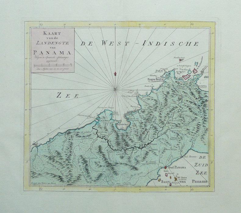 [PANAMA] Kaart van de landengte van Panama.. TIRION (Isaak);
