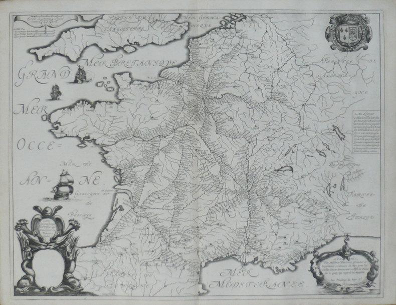 [ROUTES des POSTES] Carte géographicque des postes qui traversent la France.. SANSON d'ABBEVILLE (Nicolas) & TAVERNIER (Melchior).