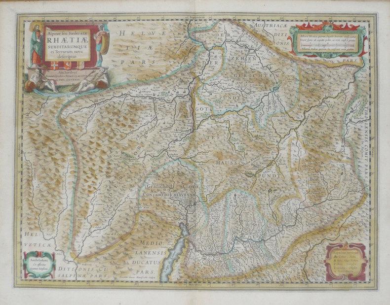 [LOMBARDIE] Alpinae seu foederatae Rhaetiae subditarumque ei terrarum nova descriptio.. JANSSON (Joannes);