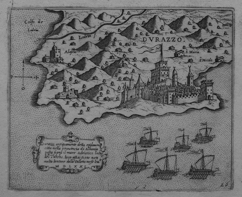 [ALBANIE] Durazzo antiquamente detta Epidamna città nella provincia di Albania.. CAMOCIO (Giovanni Francesco).