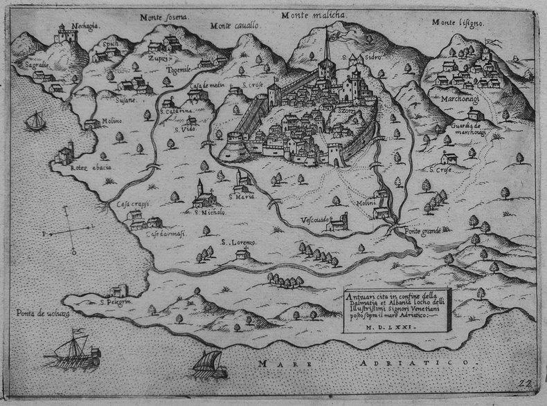 [MONTENEGRO/BAR] Antivari cita in confine della Dalmatia et Albania.. CAMOCIO (Giovanni Francesco).