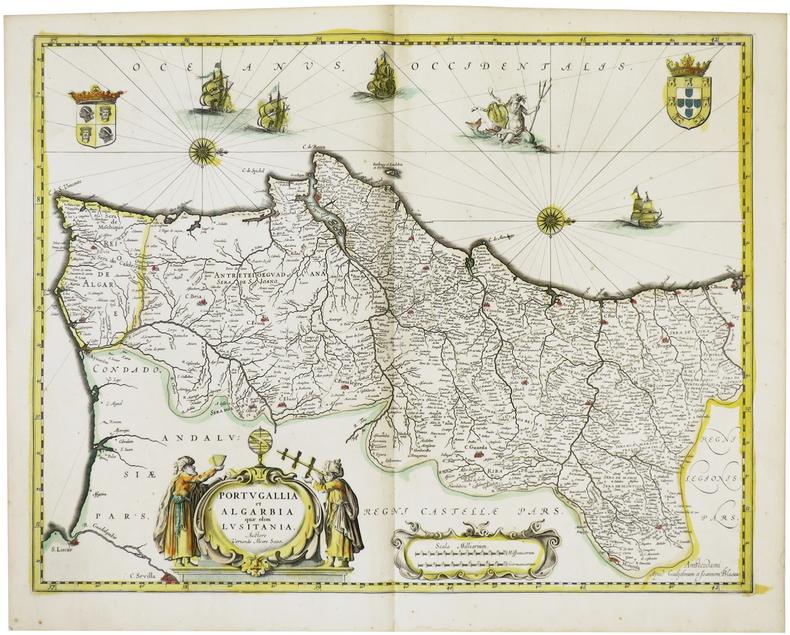 [PORTUGAL] Portugallia et Algarbia quae olim Lusitania.. BLAEU (Willem & Johannes).