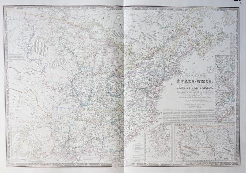 Nouvelle carte des Etats-Unis, des haut et bas-Canada, de la Nouv.le-Ecosse, du Nouv.au Brunswick, de Terre-Neuve &a.. BRUE (Adrien Hubert);