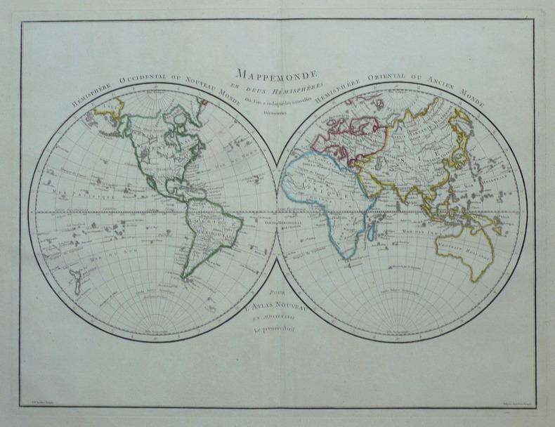 Mappemonde en deux hémisphères où l'on a indiqué les nouvelles découvertes.. CHANLAIRE (Pierre-Grégoire) & MENTELLE (Edmé);