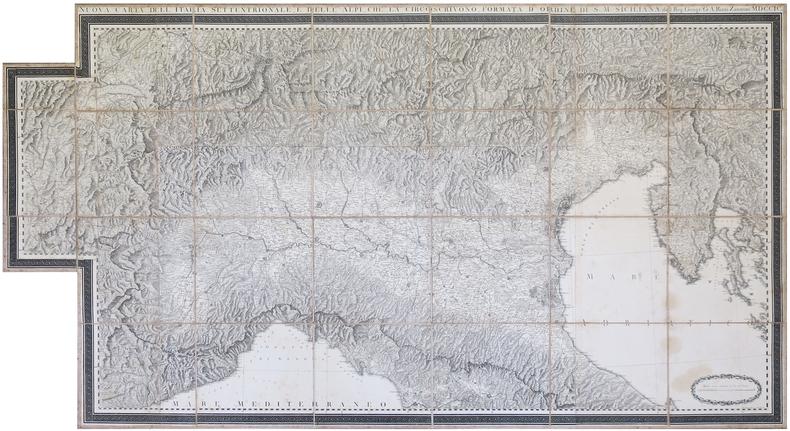 Nuova carta dell'Italia settentrionale, e delle Alpi, che la circoscrivono, formata d'ordine di S.M. Siciliana dal Reg. Geogr. G.A. Rizzi-Zannoni ...