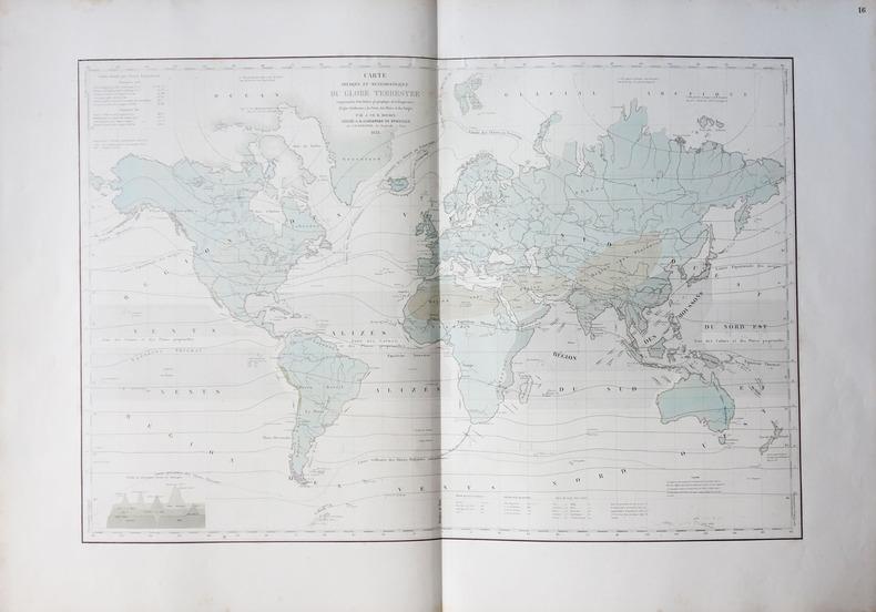 [METEOROLOGIE] Carte physique et météorologique du globe terrestre comprenant la distribution géographique de la température (lignes isothermes), des ...