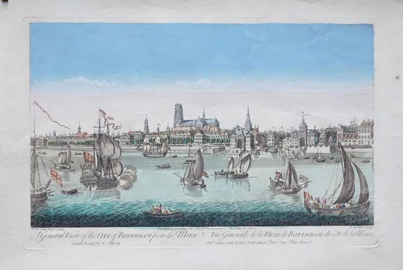 [ROTTERDAM] A general view of the city of Roterdam from the Mase - Vüe générale de la ville de Roterdam du côté de la Meuse.. RYNE (Peter van);