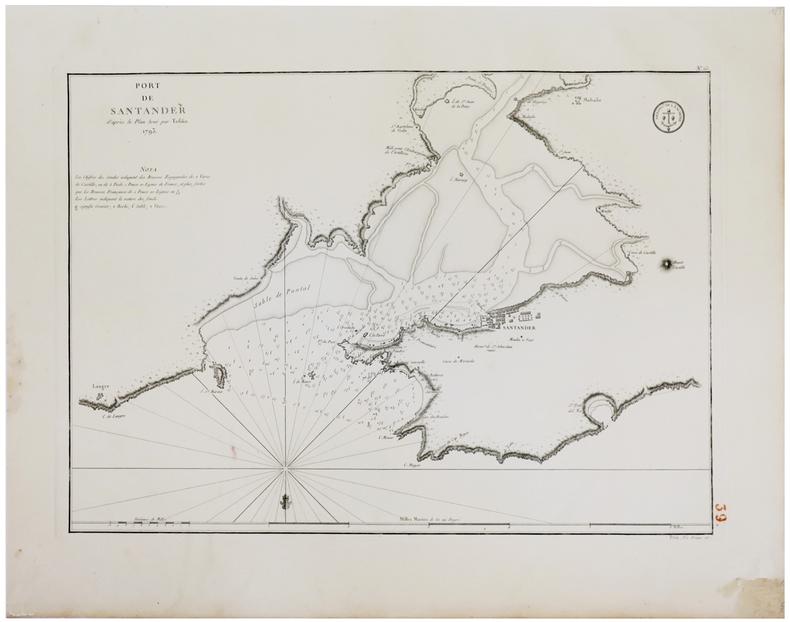 [PAYS BASQUE] Port de Santander d'après le plan levé par Tofiño. 1793.. TOFIÑO de SAN MIGUEL (Don Vicente).