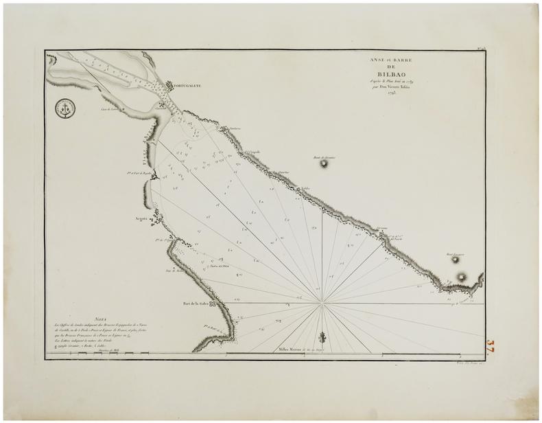 [PAYS BASQUE] Anse et barre de Bilbao d'après le plan levé en 1789 par Don Vicente Tofiño. 1793.. TOFIÑO de SAN MIGUEL (Don Vicente).