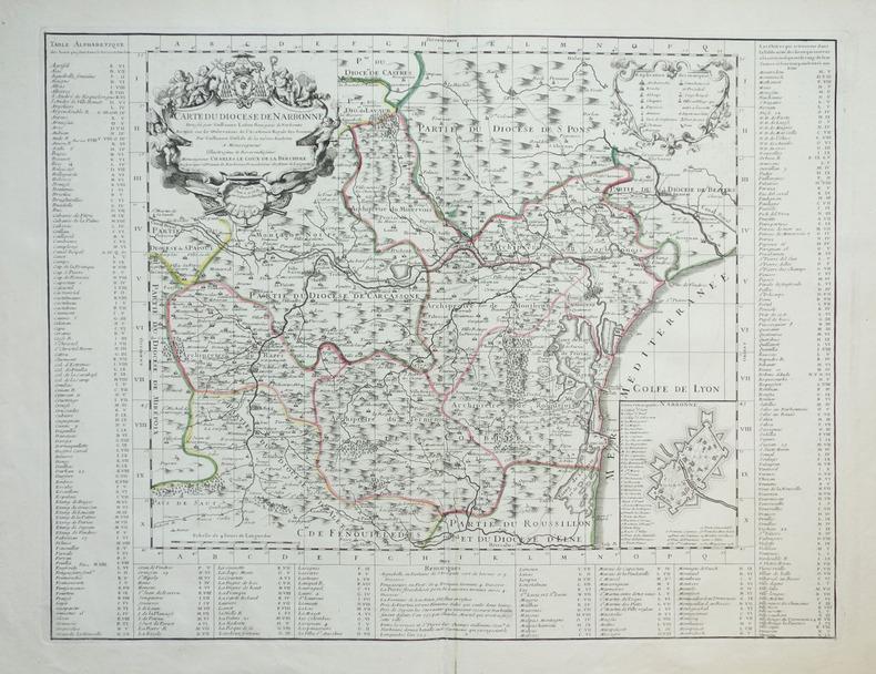 [NARBONNE] Carte du diocèse de Narbonne.. LAFONT (Guillaume) & L'ISLE (Guillaume de).
