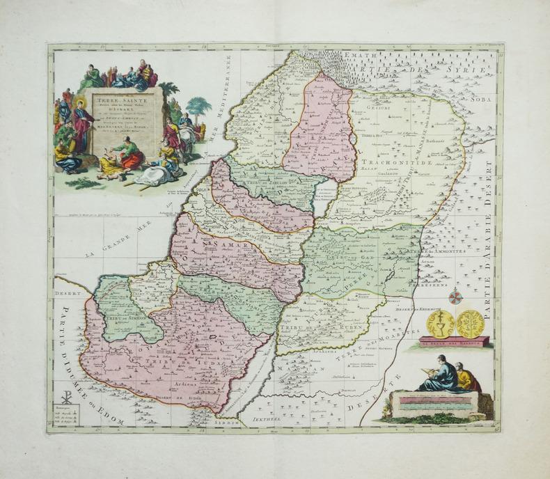 Carte de la Terre Sainte divisée selon les douze tribus d'Israël, où sont exactement marquez les voyages de Jésus-Christ &c, dressée pour bien ...
