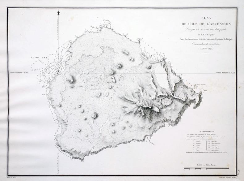 [ÎLE de l'ASCENSION] Plan de l'île de l'Ascension.. DUPERREY (Louis-Isidore).