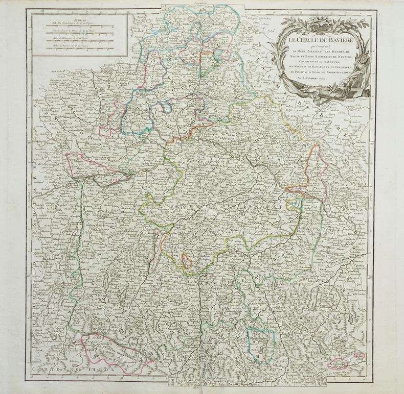[BAVIERE] Le Cercle de Bavière qui comprend le Haut Palatinat, Les duchés de Haute et Basse Bavière et de Neuburg, l'archevêché de Salzburg, les ...