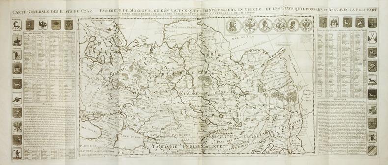 Carte générale des états du Czar empereur de Moscovie, où l'on voit ce que ce prince possède en Europe et les états qu'il possède en Asie.. CHATELAIN ...
