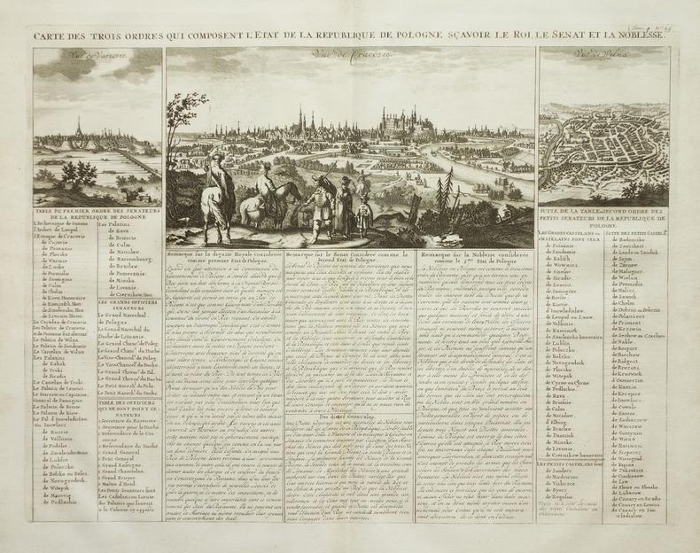 Carte des trois ordres qui composent l'état de la République de Pologne, sçavoir le roi, le sénat et la noblesse.. CHATELAIN (Henry Abraham).