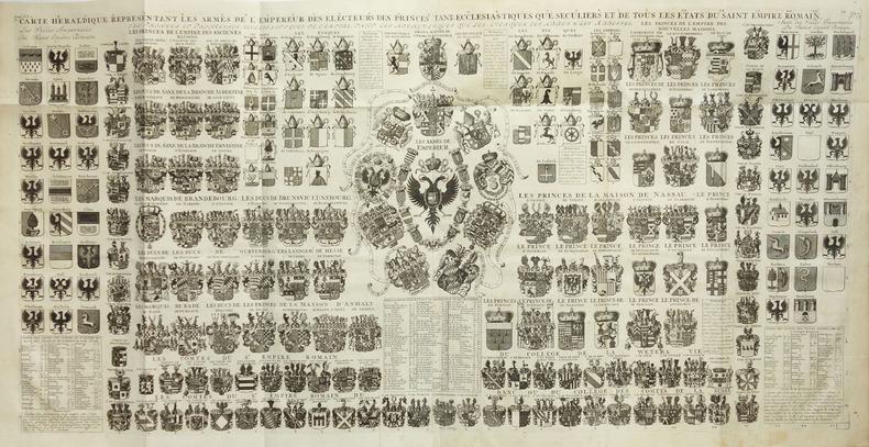 [BLASONS] Carte héraldique représentant les armes de l'empereur des électeurs des princes tant ecclésiastiques que séculiers et de tous les états du ...