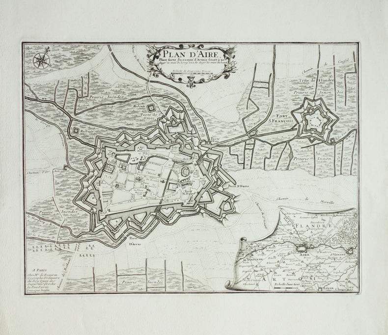 [AIRE-SUR-LA-LYS] Plan d'Aire, place forte du comté d'Artois.. BEAURAIN (Jean de).