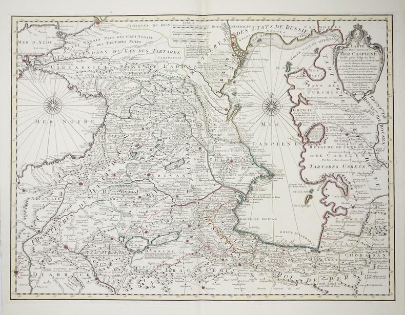 [MER CASPIENNE] Carte des pays voisins de la mer Caspiene.. L'ISLE (Guillaume de).