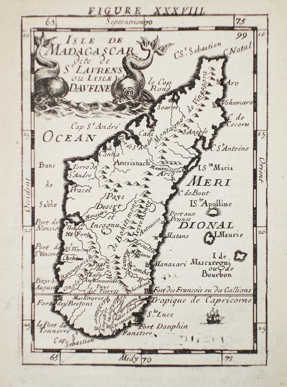 [MADAGASCAR] Isle de Madagascar dite de St Laurens ou l'isle Daufine.. MANESSON-MALLET (Allain).