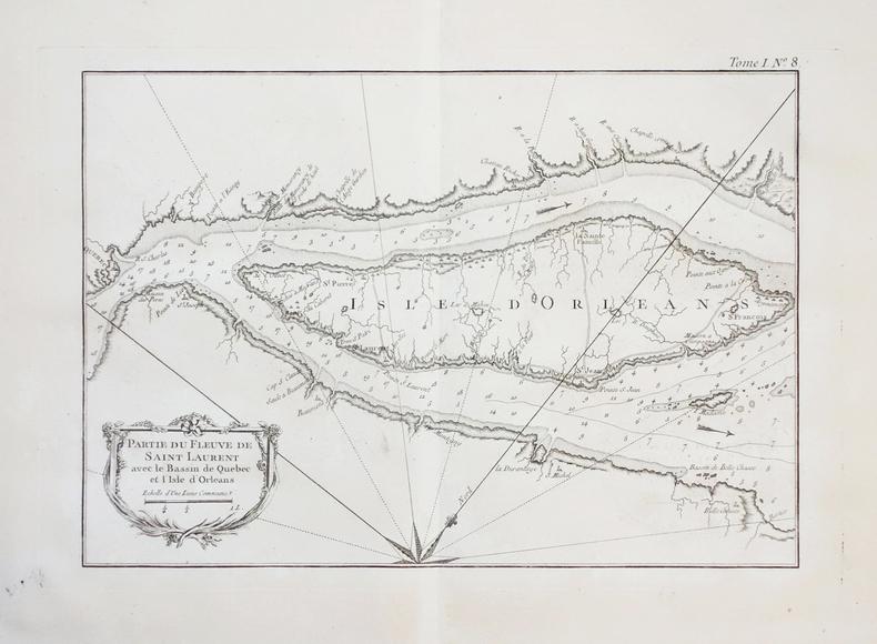 [ILE d'ORLEANS/QUEBEC] Partie du fleuve de Saint Laurent avec le bassin de Québec et l'isle d'Orléans.. BELLIN (Jacques-Nicolas).