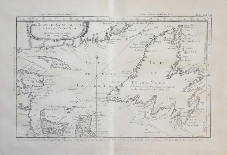 [TERRE-NEUVE] Le golphe de Saint Laurent et l'isle de Terre-Neuve.. BELLIN (Jacques-Nicolas).