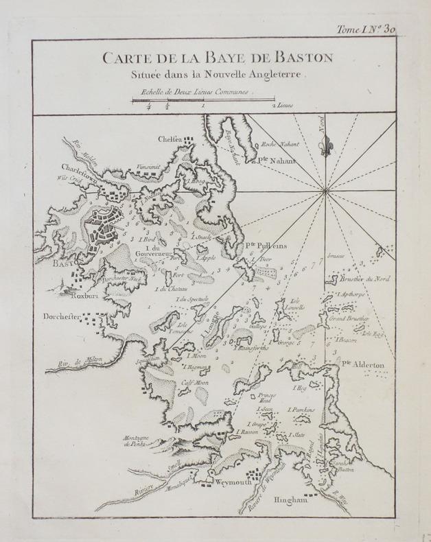 [BOSTON] Carte de la baye de Baston située dans la Nouvelle Angleterre.. BELLIN (Jacques-Nicolas).
