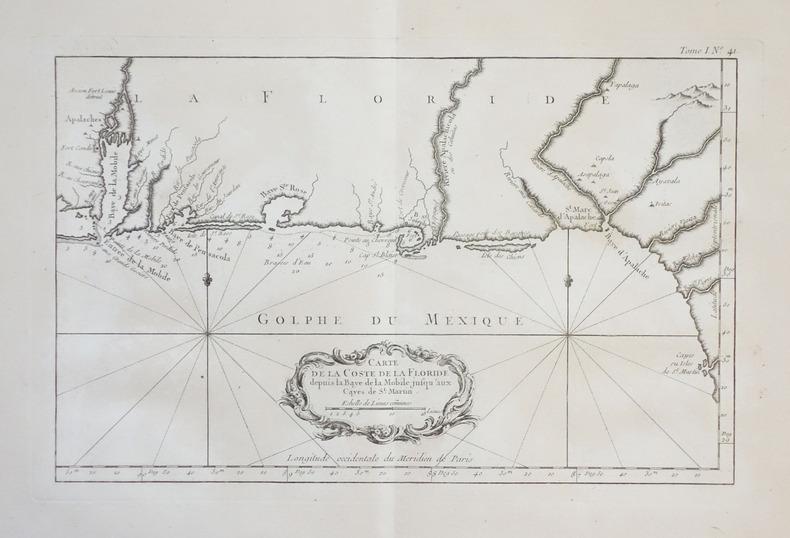 [FLORIDE] Carte de la coste de la Floride depuis la baye de la Mobile jusqu'aux cayes de St. Martin.. BELLIN (Jacques-Nicolas).