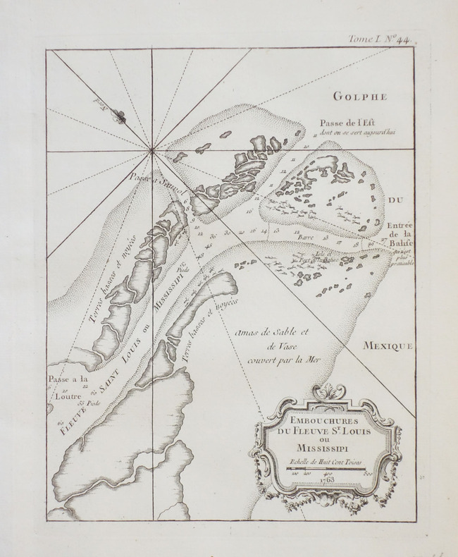 [MISSISSIPPI] Embouchures du fleuve St. Louis ou Mississipi.. BELLIN (Jacques-Nicolas).