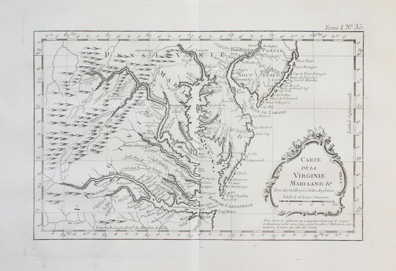 [VIRGINIE/MARYLAND/NEW JERSEY] Carte de la Virginie Mari-Land &a tirée des meilleures cartes angloises.. BELLIN (Jacques-Nicolas).