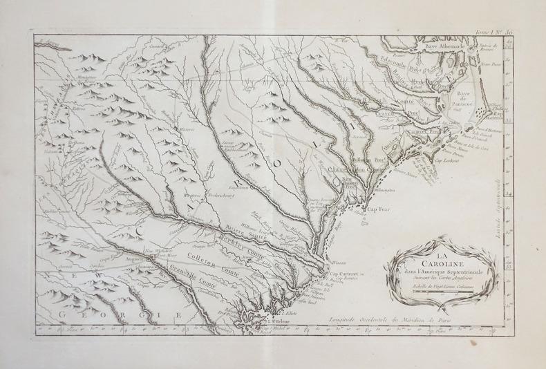 [CAROLINE du NORD et du SUD] La Caroline dans l'Amérique septentrionale suivant les cartes angloises.. BELLIN (Jacques-Nicolas).