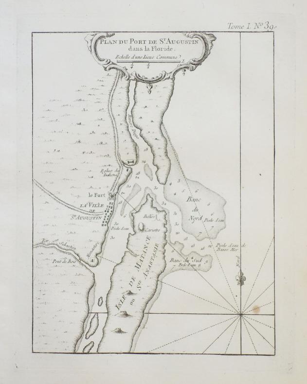[FLORIDE/ST. AUGUSTINE] Plan du port de St. Augustin dans la Floride.. BELLIN (Jacques-Nicolas).