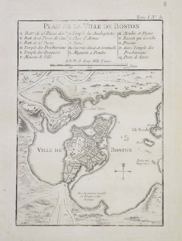 [BOSTON] Plan de la ville de Boston et ses environs.. BELLIN (Jacques-Nicolas).