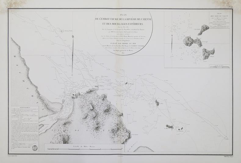 [GUYANE FRANCAISE] Plan de l'embouchure de la rivière de Cayenne et des mouillages extérieurs.. DEPOT-GENERAL DE LA MARINE.