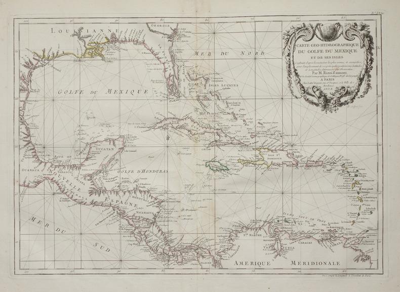 Carte géo-hydrographique du golfe du Mexique et de ses isles.. RIZZI-ZANNONI (Giovanni Antonio).