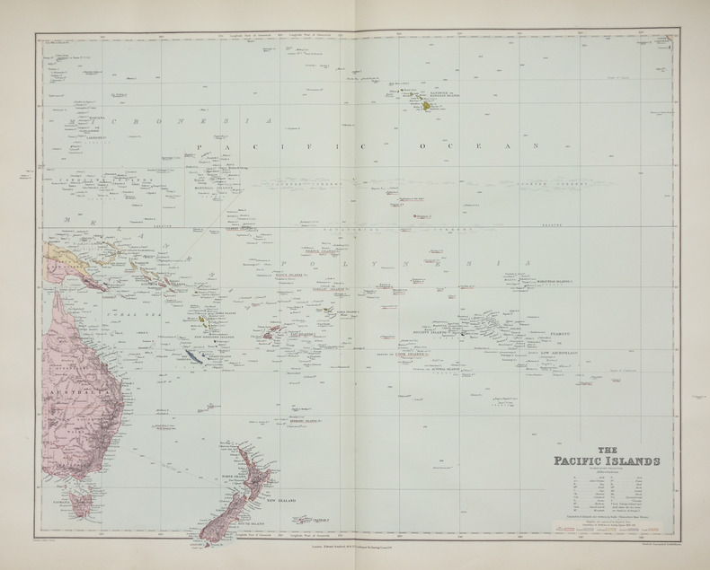 The Pacific islands on Mercator's projection.. STANFORD (Edward).