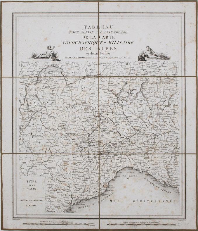 Carte topographique militaire des Alpes comprenant le Piémont, la Savoye, le Comté de Nice, le Vallais, le Duché de Gênes, le Milanais, et partie des ...
