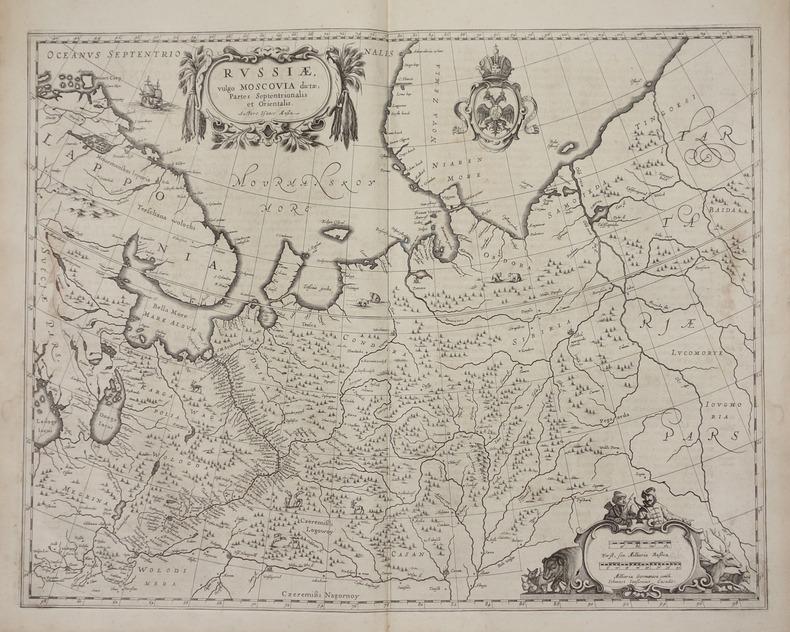 Russiae, vulgo Moscovia dictae, partes septentrionalis et orientalis.. JANSSON (Joannes).