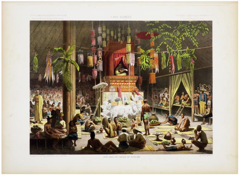 [LAOS] Laos siamois. Fête dans une pagode de Nong Kay.. DELAPORTE (Louis) & GARNIER (Francis).