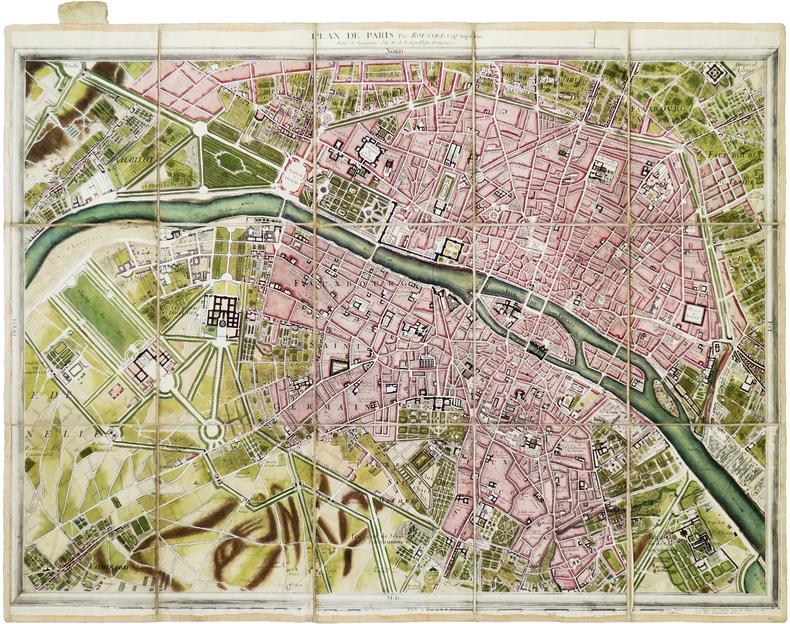 Plan de Paris par Roussel Cap.ne Ingénieur. Revu et augmenté l'an IV de la République Française.. ROUSSEL (Capitaine).