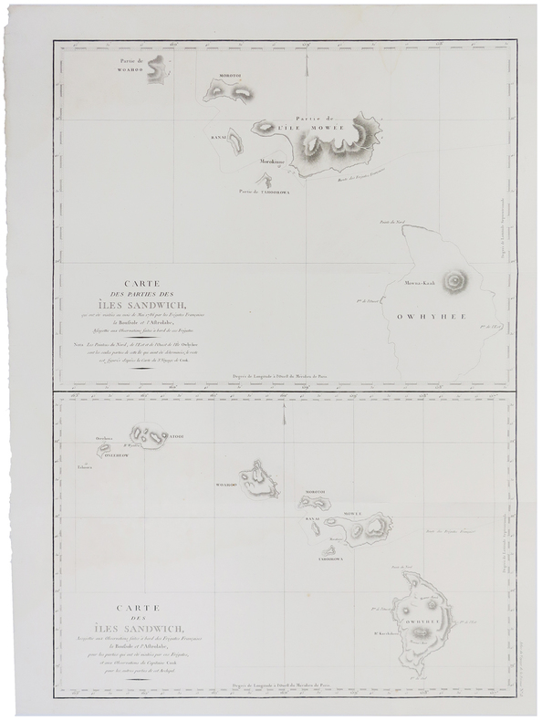 [HAWAII] Carte des parties des îles Sandwich - Carte des îles Sandwich.. LA PÉROUSE (Jean-François de Galaup, comte de).