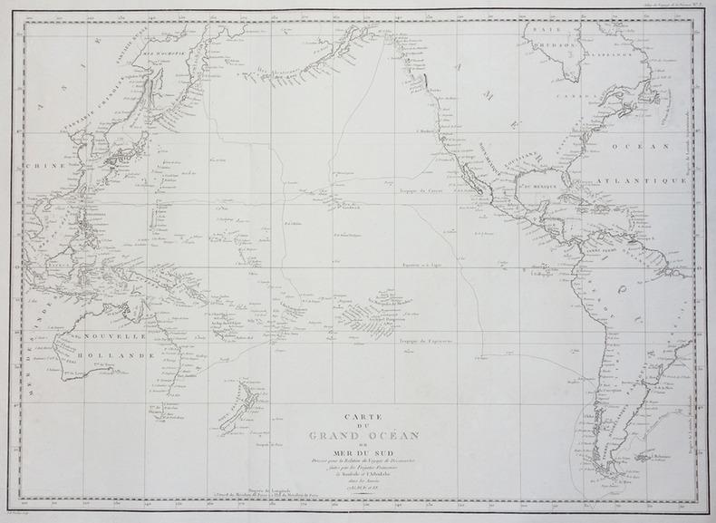 Carte du Grand Océan ou Mer du Sud.. LA PÉROUSE (Jean-François de Galaup, comte de).