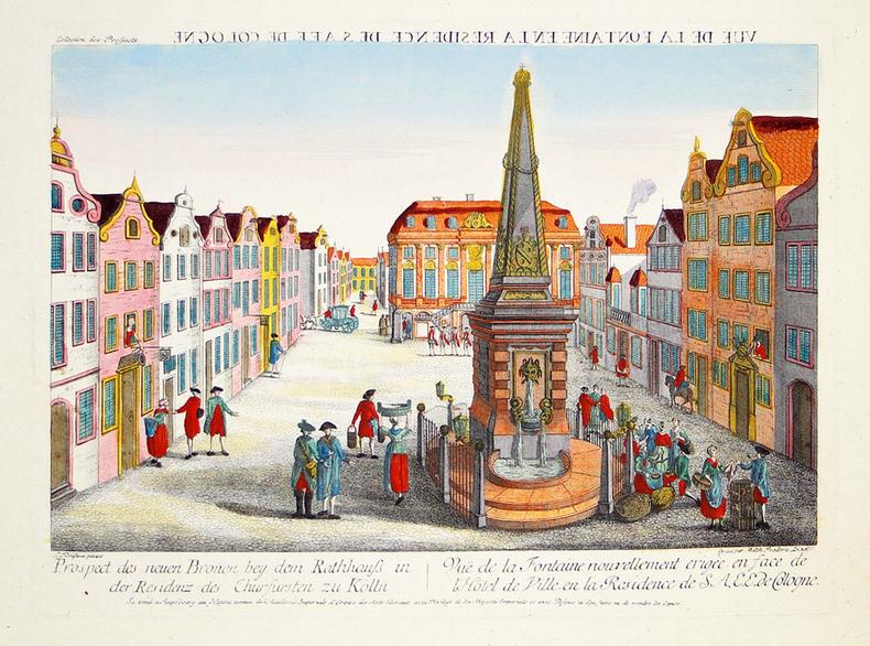 [BONN] Vuë de la fontaine en la résidence de S.A.E.E. de Cologne.. DELSENBACH (Johann Adam) & LEIZELT (Balthasar Friedrich).