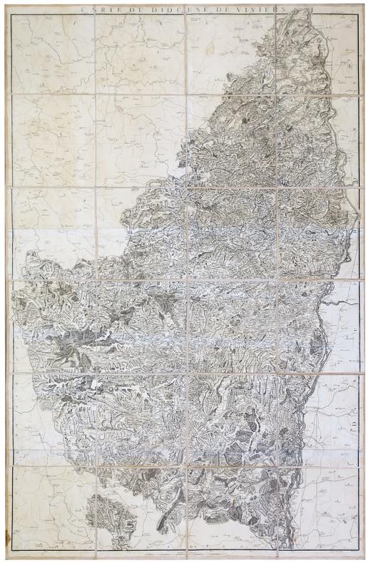 [VIVIERS] Carte du diocèse de Viviers.. CASSINI de THURY (César-François) & CAPITAINE (Louis).