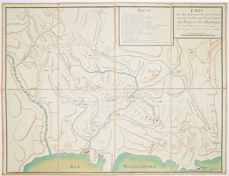 Carte des retranchemens faits pour la défense du comté de Nice, par l'Armée Combinée de France et d'Espagne, dans le mois de septembre 1747. La droite ...