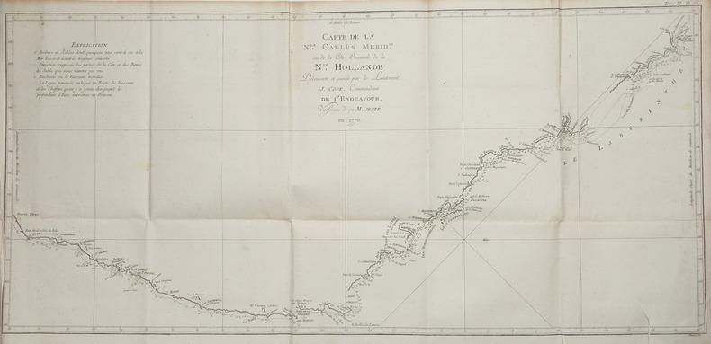 [AUSTRALIE] Carte de la N.le Galles mérid.le ou de la côte orientale de la N.le Hollande découverte et visitée par le lieutenant J. Cook, commandant ...