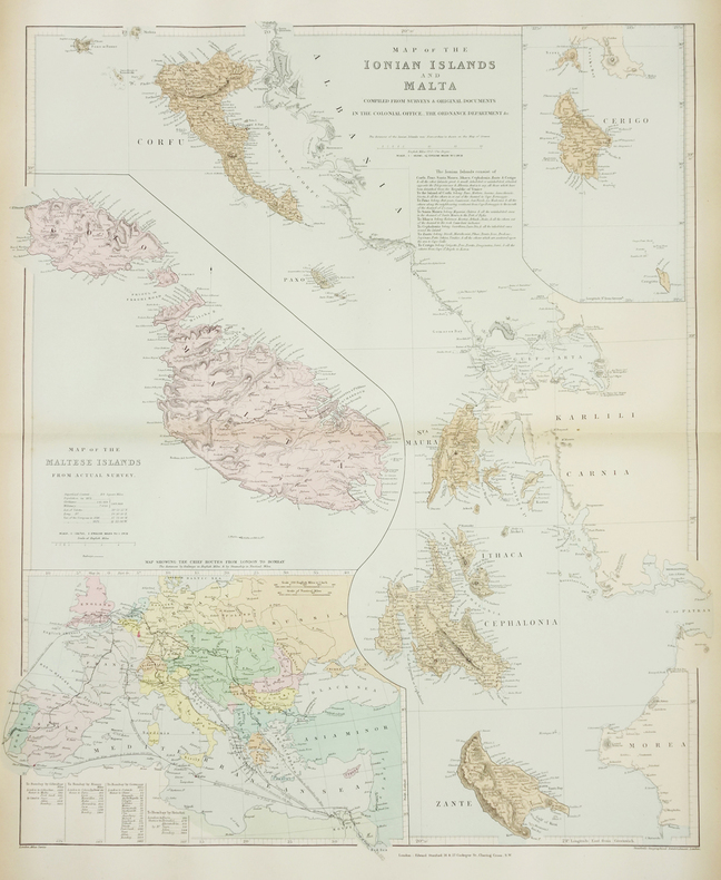[ÎLES IONIENNES & MALTE] Map of the Ionian Islands and Malta.. STANFORD (Edward).