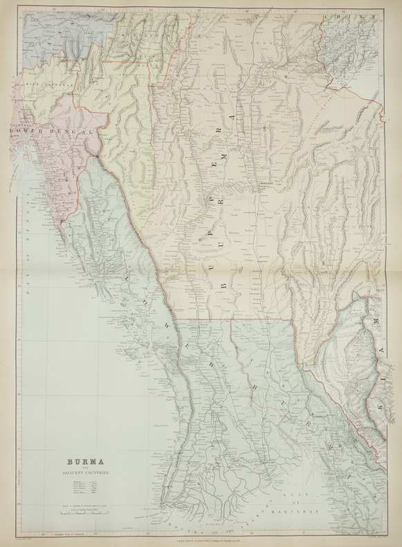 [BIRMANIE] Burma and adjacent countries.. STANFORD (Edward).