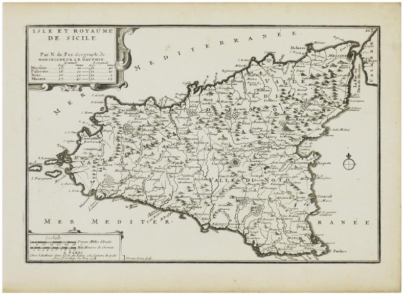 [SICILE] Isle et royaume de Sicile.. FER (Nicolas de).