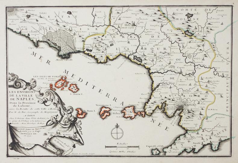 [NAPLES] Les environs de la ville de Naples, dans la province de Labour, avec la routte de cette ville à Rome.. FER (Nicolas de).